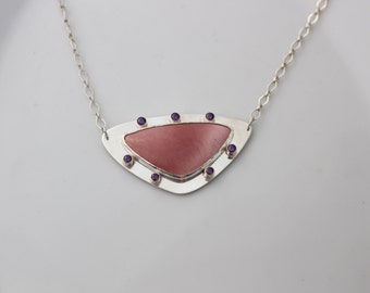Pink Mookaite Triangle Necklace in Sterling Silver // Pink and Purple Necklace // Metalsmith Necklace