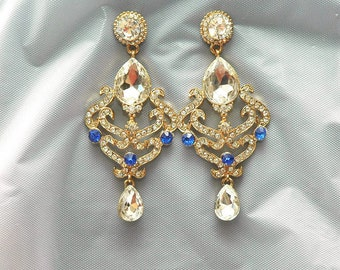 Blue Chandelier Bridal Earrings, Something Blue Wedding Earrings, Royal Blue Earrings, Blue Jewelry,Gifts For Women