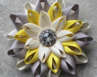 Flower Hair Clip, Silver, Yellow, Ivory Hair Flower Clip, Bridesmaid Hair Flowers, Bridal Hair Flower, Bridal Hair Piece, Wedding Hair Clip