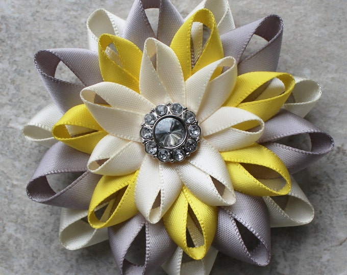 Flower Hair Clip, Silver, Yellow, Ivory Hair Flower Clip, Bridesmaid Hair Flowers, Bridal Hair Flower, Bridal Hair Piece, Wedding Hair Clip