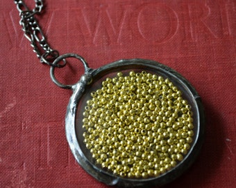 Statement Necklace Real Pocket Watch Crystals Moving Gold Beads Vintage Watch Jewelry Gold Statement Necklace (3023)
