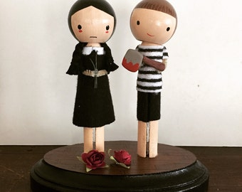 Wednesday and Pugsley Addams Clothespin Dolls - MADE TO ORDER