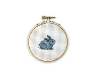 Blue Bunny Cross Stitch (finished and framed in embroidery hoop)
