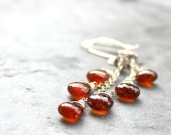 Spessartite Garnet Earrings Orange Rust Sterling Silver Long Dangle Earrings Wire Wrapped Autumn Jewelry