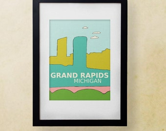 Grand Rapids, Michigan // Typographic Illustration Print, Nursery Decor, Modern Baby, Typography Poster, City Skyline,Travel Theme, Digital
