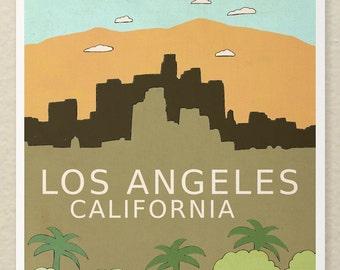Los Angeles California // Digital Illustration, Typographic Print, Giclee, Nursery Decor,  City Skyline, Illustration, Travel Theme, Digital
