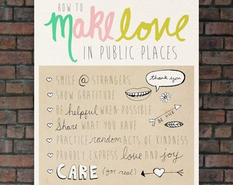 How to Make Love in Public Places // Typographic Print, Inspirational, Funny Reminder, Poster, Digital Print, Illustration, Drawings