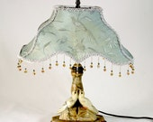 SOLD - Vintage Italian Alabaster BOUDOIR Lamp - LOVEBIRDS - Embroidered Silk Shade