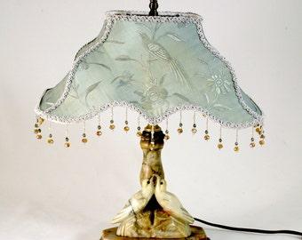 SOLD - Vintage Italian Alabaster BOUDOIR Lamp - LOVEBIRDS - Embroidered Silk Shade