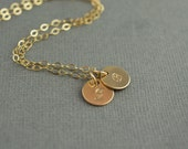 Delicate Gold Hand Stamped Initial Necklace | Gold Letter Necklace |  Gold 14K Filled Hand Stamped Jewelry Necklace