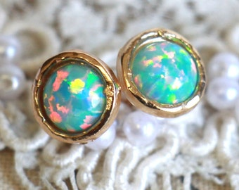 Opal earrings, Opal stud earrings, Mint Opal earrings, Gold Opal earrings,Gift for woman, October birthstone - 14 Gold filled earrings