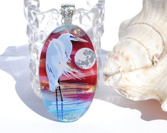 Fused Glass Pendant, Large Pendant, Fused Glass Jewelry, Dichroic, Oval, Moonlight, Nature, Full Moon, Ocean, Heron, Bird (Item 10689-P)