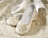 Wedding Shoes Bridal Ballet Soft Soled Slippers, Wedding Vintage Lace Shoes, Bridal Handmade Women's Wedding Soft Soled Slipper, Pink2Blue