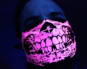 Dayglow Neon Hot Pink Black Light Reactive Skull Bandana Black Neck Warmer Mask