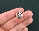 BULK 50 Sailboat Charms Antique Silver Tone 2 Sided Boat Circle - SC1679