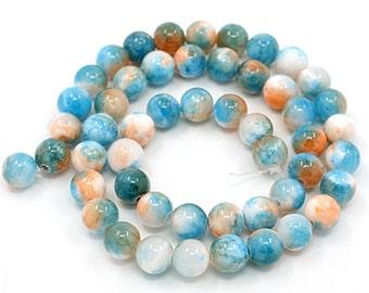 Jade Beads 6mm Gemstones in Sky Blue Peach & White - 1 Strand - BD726