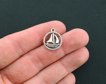 10 Sailboat Charms Antique Silver Tone 2 Sided Boat Circle - SC1679