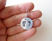 Pro-Life Precious Feet Hand-Stamped Silver Brushed Aluminum Charm, Life-Size Preborn Footprints