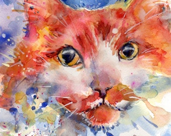 "Yellow orange and white long haired tiger cat watercolor painting Title is ""Honesty"""