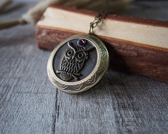 Owl Necklace Owl Locket Brass Locket Pendant Necklace Handmade Necklace  10949