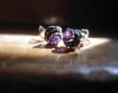 Sterling Silver Rose Stud Earrings Gemstone handmade white opal blue topaz purple amethyst iolite tanzanite citrine red ruby fine jewelry