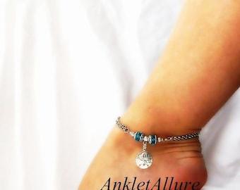 Beach Treasure Sand Dollar Anklet Aqua Blue Crystal Ankle Bracelet Silver Ankle Bracelet