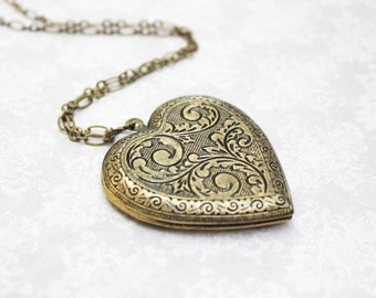 Large Heart Locket Necklace Gold Floral Pendant Vintage Style Romantic Gift for Her Long Necklace Valentines Day Sentimental Gift Keepsake