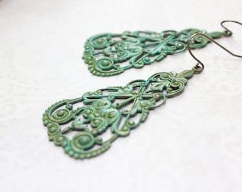 Verdigris Filigree Earrings Lacey Brass Dangles Modern Romantic Green Turquoise Patina Boho Chic Bohemian Statement Jewelry Rustic Metal