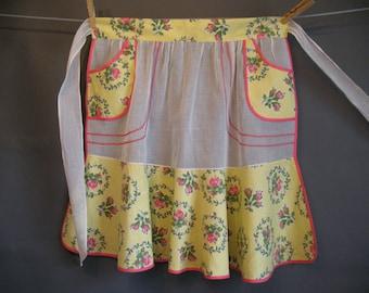 Vintage 50s HOSTESS APRON Organdy & Cotton Rose Garlands Handmade Unused
