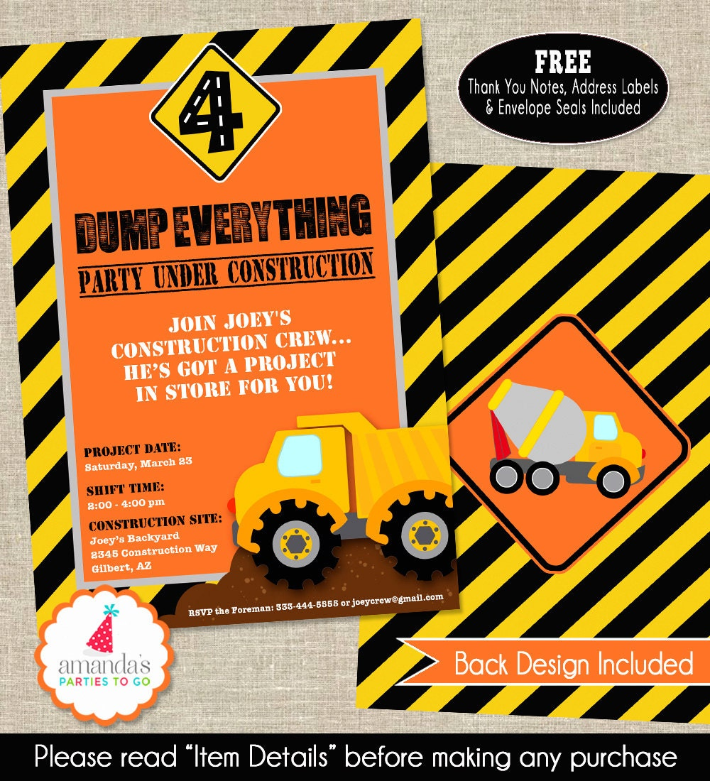 Construction Party Invitation Construction By