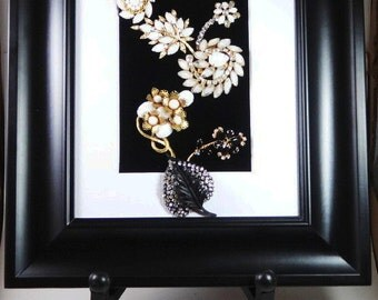 Jewelry Art. Framed Wall Art,Handmade OOAK , Vintage Jewelry, Black Beauty