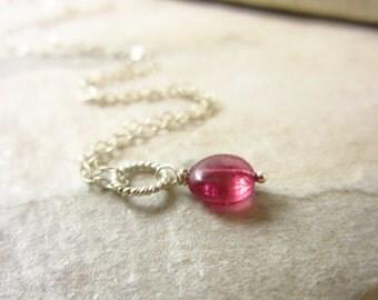 Lg - Sterling Silver Wire Wrapped Tourmaline Pendant - Pink Gemstone Jewelry Handmade Gemstone Pendant - Pink Tourmaline Birthstone Charm