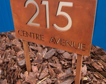 CUSTOM Modern Deluxe Address Sign in Rusted Steel Ground Stakes