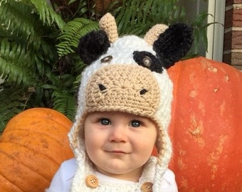 Baby Cow Hat - Baby Costume Hat-  Farm Animals Spotted Cow Hat - Black and White Cow Ear Flap Hat - Calf Hat - by JoJo's Bootique