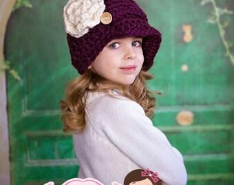 Newsboy hat/ chunky newsboy hat / crochet hat / girls hat / women hat/ girl crochet hat / hat with flower / bulky hat / slouchy hat