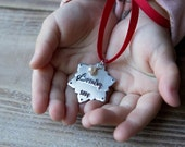 Personalized Christmas Tree Ornament - Handstamped Custom Silver Small Snowflake Ornament - First Christmas - New Baby - Christmas Gift