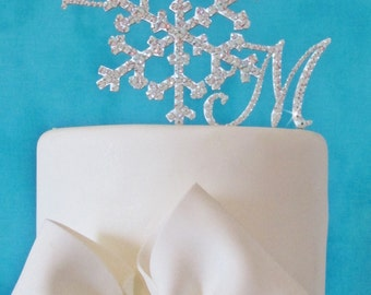 Custom Snowflake Cake Topper - Custom Shape - Brush Metal - Swarovski Crystal Cake Topper - Removable Stakes