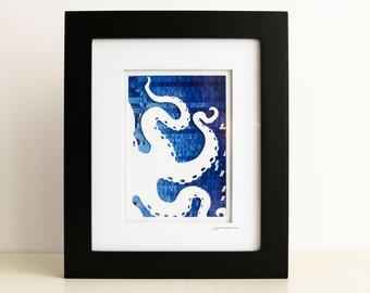 Octopus Collage - Original Wall Art - Blue Cephalopod