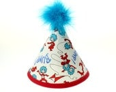 Dr Seuss - Thing 1 and Thing 2-  Fabric Birthday Cake Smash Hat