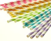 PASTEL RAINBOW Eco-friendly Paper Party Straws & Digital Flags - Made in America - - - FDA approved - - - Ships within 1 business day