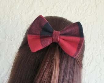 Buffalo Plaid Flannel Hair Bow Black Red Plaid Flannel Hair Clip Rockabilly Pin up Teen Woman Girl