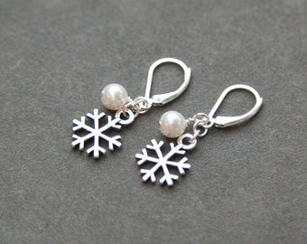 Sterling Silver Snowflake Earrings, Pearl Bridesmaid Gift, Winter Wedding Jewelry, Christmas Earrings