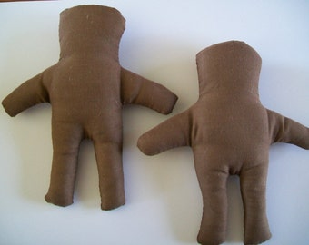 SALE - Vintage Fabric Destash - Chocolate Muslin Dolls PLUS a Kit To Complete Two More Dolls