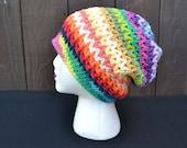 Rainbow Hat - Slouchy Crochet Hat - Slouchy Beanie - Dread Tam - Dreadlocks - Music Festivals - Hippie - Summer Fashion