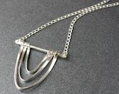 """Unique Sterling Silver Long Pendant Necklace Organic """"Drape Necklace"""""""