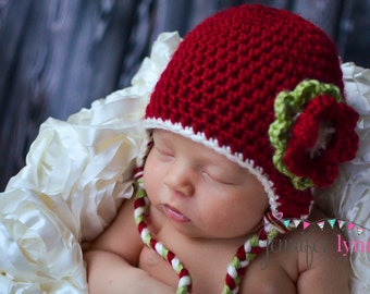 Crochet Baby Christmas Earflap Hat with Flower - Newborn to 10 years - Autumn Red, Cream, Pistachio - MADE TO ORDER