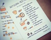 Swedish winter recipe set - original artwork by messy my - illustrated recipes - sweden comfort food