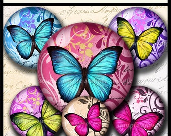 INSTANT DOWNLOAD New Colorful Butterflies (691) 4x6 and 8.5x11 20mm circles Digital Collage Sheet glass tiles cabochon pendants images