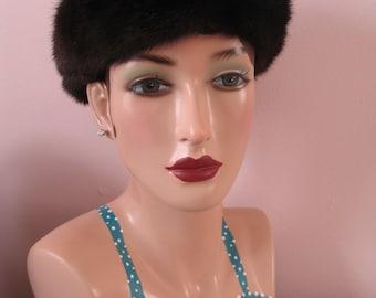 1950's Mink Hat, dark brown