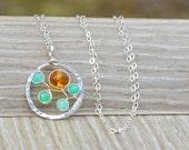 Chrysoprase Pendant Necklace, Natural Baltic Amber & Mint Green Chrysoprase Necklace, Silver Circle Pendant